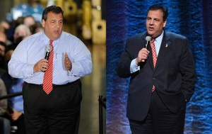 Chris Christie before (left) and after (right) his stomach surgery. Credit: Getty Images